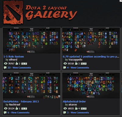 Cropped screenshot of the public gallery page showing 4 gallery links including thumbnails, titles, views, likes, aspect ratios, and number of comments