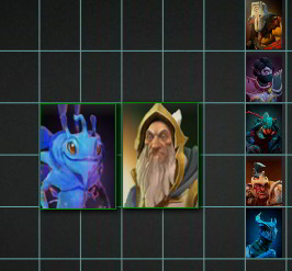 Dota 2 Layout screenshot showing the selected characters snapping to the grid