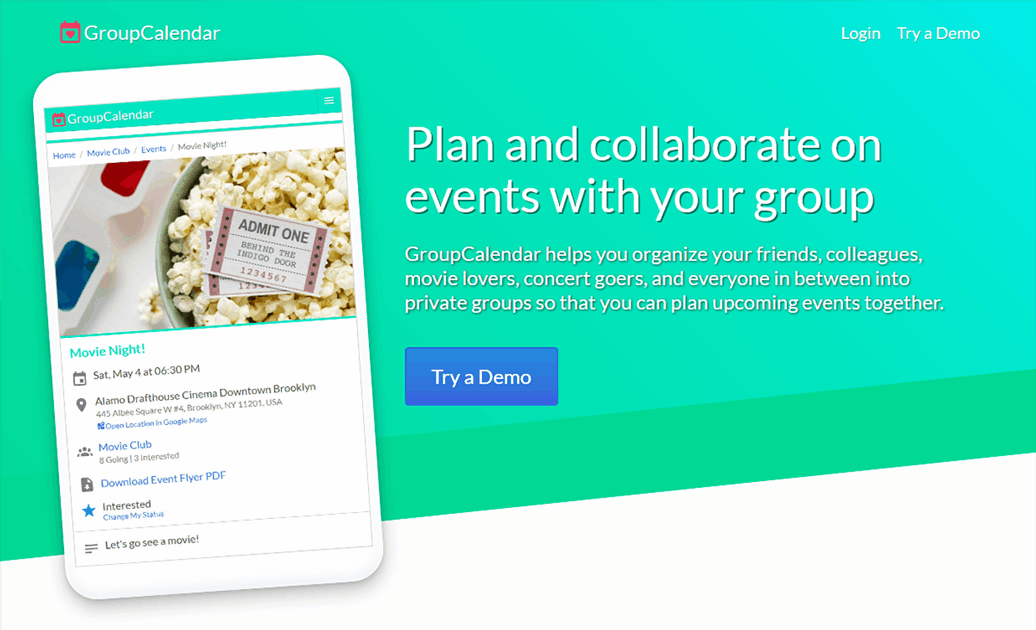 GroupCalendar home page screenshot - banner with turquoise background, app slogan ('Plan and collaborate on events with your group'), app sample image on tablet device, Try Demo button