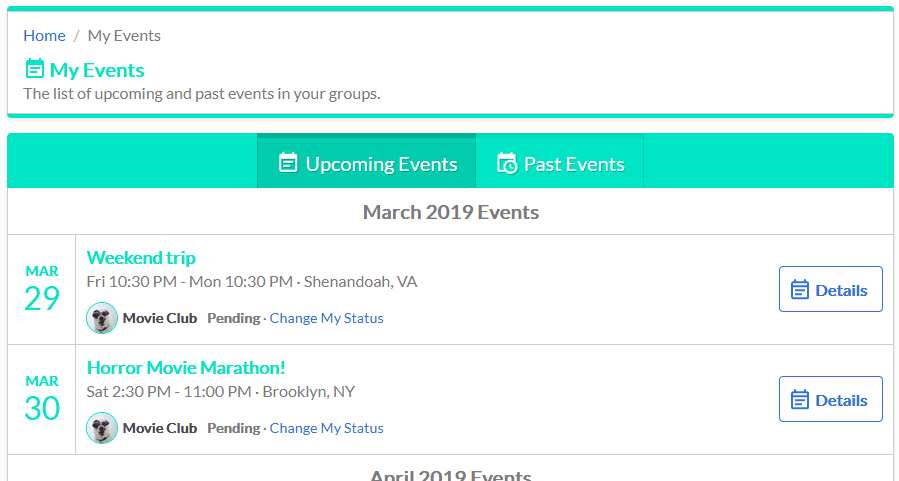 Group Calendar My Events page screenshot showing list of events in the user's groups