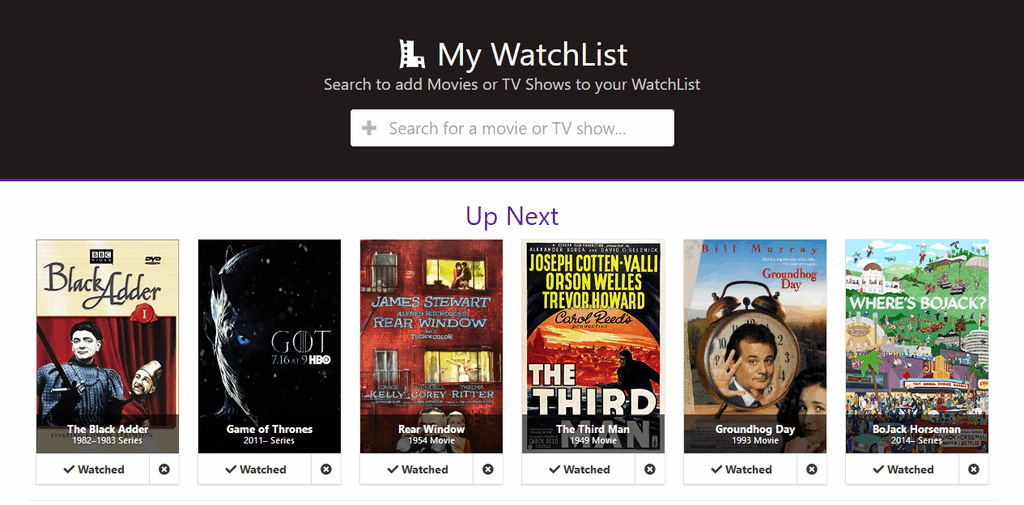 My Watchlist app sample screenshot - Header includes logo, slogan, and search bar. Body shows Up Next section with 6 items. Each item includes movie poster artwork and Watched/Remove buttons
