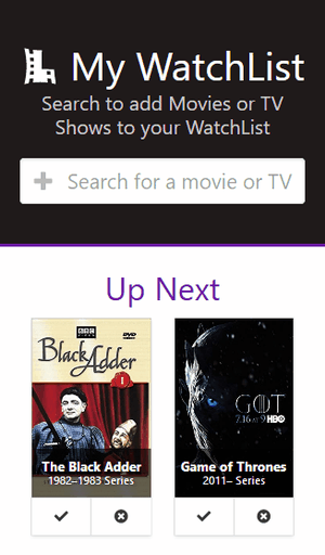 Cropped screenshot of the app showing its responsive mobile design, including the header and the Up Next section with 2 items. The 2 items include movie posters, overlay title text, and icon buttons