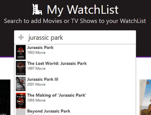 Cropped screenshot showing the header search bar with autocomplete results for 'jurassic park'. The autocomplete results include a poster thumbnail, title, year, and content type