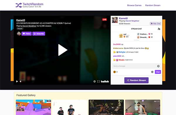 TwitchRandom website screenshot - Cropped image shows the website's header menu, main banner with Twitch stream and chat, and Featured Gallery section with thumbnails